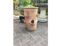 Terracotta tall strawberry / herb planter, garden