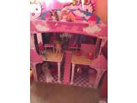 Girls large play wooden doll castle