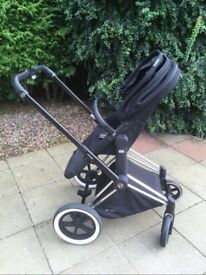 Cybex Priam All Terain 3 in 1 Pram, Pushchair & Carrycot with Cloud Q car seat and isofix base