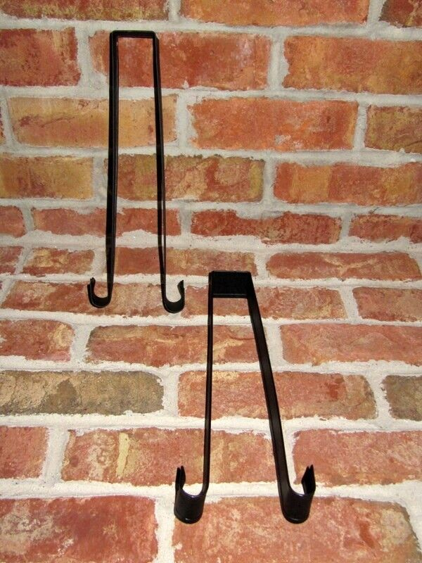 TWO Amish crafted black metal over the door wreath hook hang