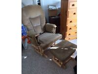 Glider Rocking Chair with Matching Footstool