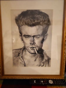 vintage framed james dean sketch print