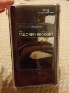 Smoothweave, 14 inch king tailed bedskirt, brown