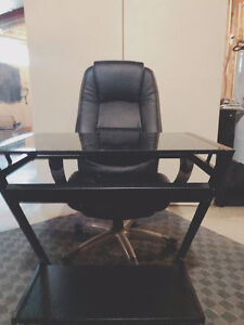 Compact, black, glass computer desk on wheels (+chair)