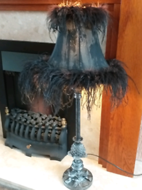 FAUX FEATHER PEWTER LAMP