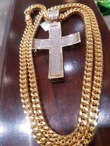 Icedout cross pendant and thick Franco 10k yellow gold
