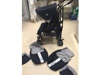 Maclaren techno twin double buggy with newborn inserts and Cosy toes