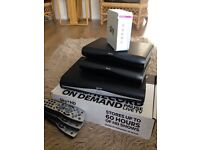 Sky plus HD + 2 sky HD boxes and sky router, comes with cables and remotes