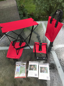 Portable Camping / Emergency Chairs with Emergency rain ponchos