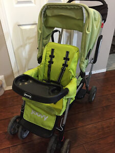 lime green joovy double sit n stand stroller