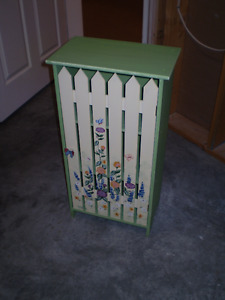 Hand-Painted Picket Fence Cabinet