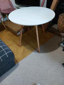 Round white table wooden legs 80cm