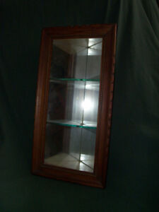 Antique   cherrywood corner shelf, mirrored with glass shelves