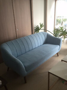 Mid Century Modern Inspired Baby Blue Textured Couch