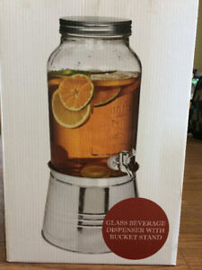 Glass Beverage Dispenser with Bucket Stand