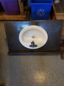 "38"" Bathroom Vanity countertop, sink and taps"