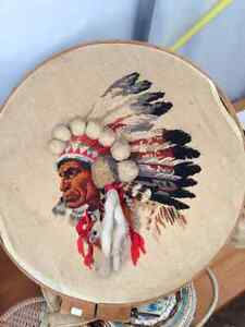 VINTAGE NATIVE INDIAN CHIEF HEAD CANVAS STITCHED
