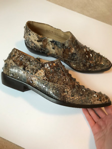 Jimmy Choo x H&M Stud Snakeskin Ankle Boots - Size 39 / 8.5 / 9