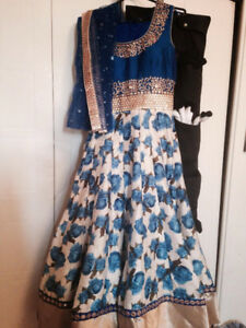 beautiful blue flower anarkali suits
