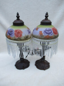 2 Vintage Victorian Style Beaded Fringe Lamps