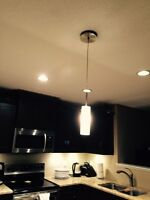 Single white frosted pendant light