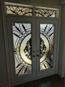 Wrought Iron and Stained Glass Door Inserts Sale