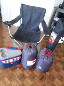 Sleeping bags ×2. Camping chairs ×2. Cooler bag ×1