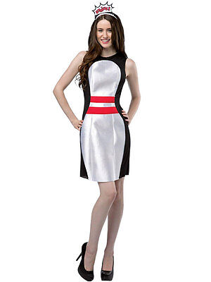 Bowling Kostüme (Adult Bowling Ball Outfit Fancy Dress Costume Ball Sports 10 Pin Ladies Womens)