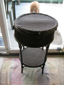 Sewing Basket Round Wicker Style Standing Vintage Brown