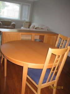 IKEA Dining Set modern 6 chairs 1 side hutch,1 table +extension