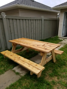 Handmade cedar picnic table with built in cooler