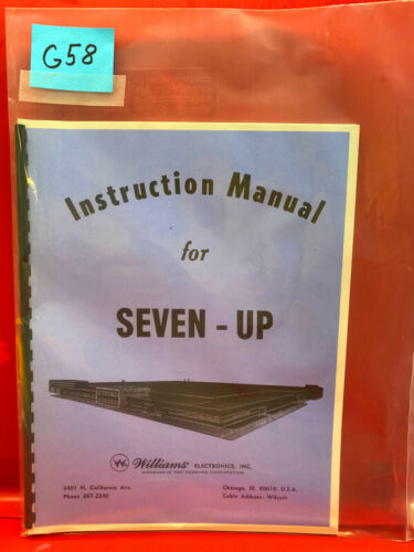 Seven-Up Williams Pinball Instruction/Operation/Service/Repair Manual Guide G58