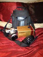 Minolta camera lenses, slr body, and bag