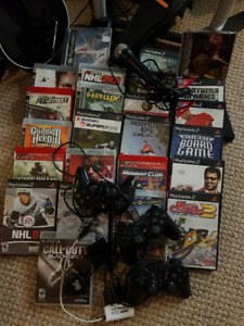 PS3 with games, controllers and RockBand