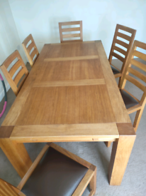 Dining Table and 6 chairs, collection only.