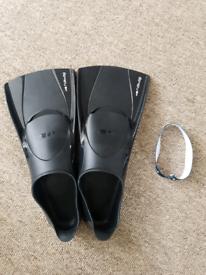 Nabaiji endurance short fins black pro swim dive flippers squad train