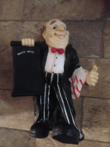 Adorable Wine Butler Holding Chalk Board