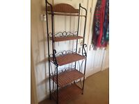 DECORATIVE WROUGHT IRON AND BASKET WEAVE SHELF UNIT