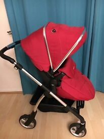 Nearly new silver cross wayfarer in chilli red Excellent condition pram pushchair and carrycot