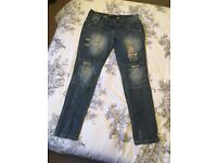 Ladies new look yes yes jeans ripped frayed size 10