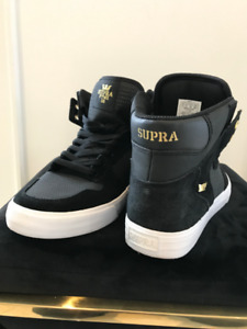 Men Supra-Vaider-Skateboard-Black-Gold Shoes Size 10.5, 10, 8.5