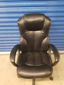 Black Leather Office Chair - TAKE OVER THE WORLD!!
