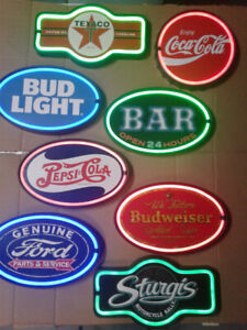RETRO BEER AND SODA LIGHT UP METAL SIGNS