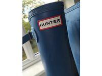HUNTER WOMEN'S ORIGINAL TALL WELLINGTON BOOTS BLUE Size UK 4 EU 37