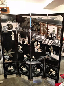 Mid-Century Chinese Lacquer Folding Screen