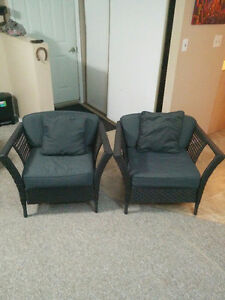 2 matching wicker chairs