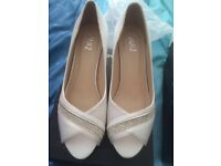 White diamanté kitten heels size 4