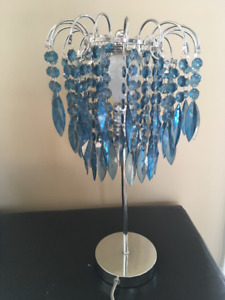 Night lamp with blue crystals