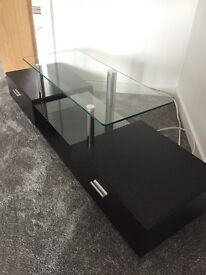 NEXT, Black with silver speckled glass tv stand