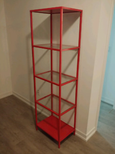 Metal Bookcase with Glass Shelves